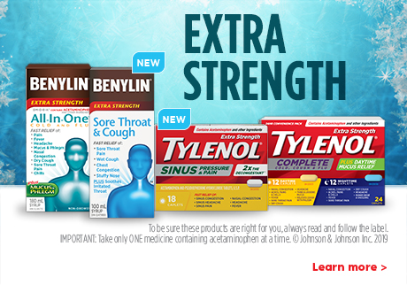 New BENYLIN® Sore Throat & Cough and TYLENOL® Sinus Pressure & Pain products now available.