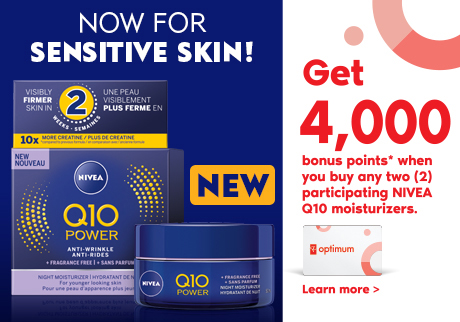 New NIVEA Q10 Power face moisturizer, now for sensitive skin! Get 4,000 points when you buy 2 participating NIVEA Q10 moisturizers