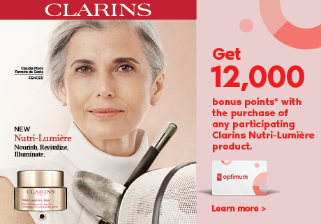 Get 12,000 bonus points* with the purchase of any participating Clarins Nutri-Lumière product. Learn More >
