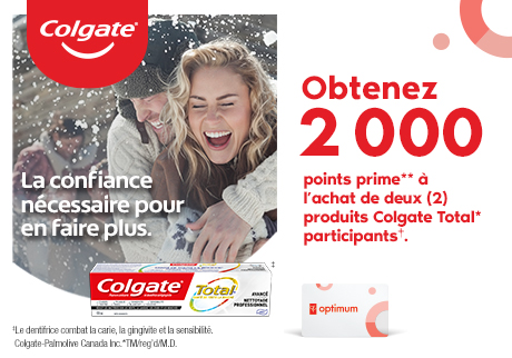Colgate Total* Toothpaste is specially formulated to help prevent gingivitis, cavities, plaque build-up, and sensitivity, and also fights tartar build-up, bad breath and whitens teeth. Always read and follow the label. Get 2000 bonus points**  when you buy any two (2) participating† Colgate Total* products.