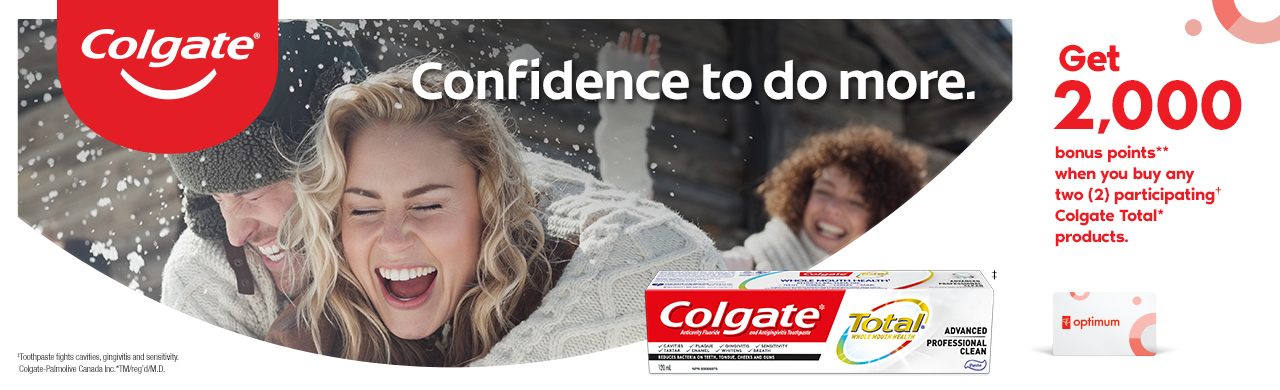 Colgate Total* Toothpaste is specially formulated to help prevent gingivitis, cavities, plaque build-up, and sensitivity, and also fights tartar build-up, bad breath and whitens teeth. Get 2000 bonus points**  when you buy any two (2) participating† Colgate Total* products.