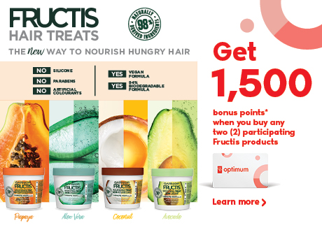 Get 1500 bonus points* when you buy any two (2) participating Fructis products.