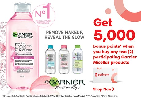 Get 5,000 bonus points* when you buy any two (2) participating Garnier Micellar products.