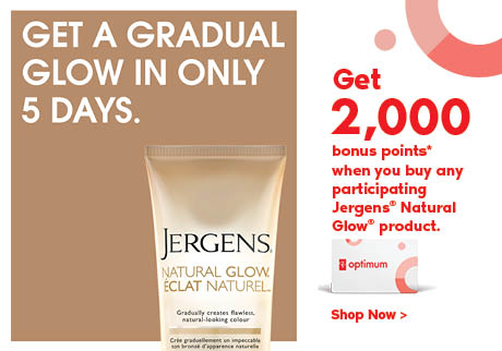 Get 2,000 bonus points* when you buy any participating Jergens® Natural Glow®  product. Before August 7, 2020