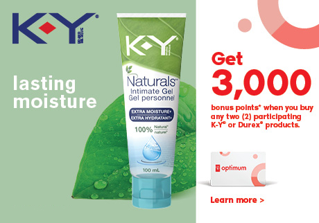 Discover lasting moisture with K-Y®. Get 3,000 bonus points when you buy any 2 participating K-Y® or Durex® products.