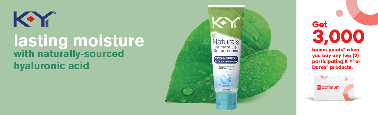 Lasting moisture with naturally-sourced hyaluronic acid. Get 3,000 bonus points when you buy any 2 participating K-Y® or Durex® products.