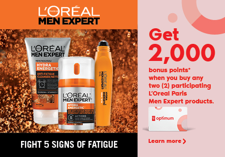 Get 2,000 bonus points when you buy any two (2) pariticpating L'Oreal Paris Men Expert Products