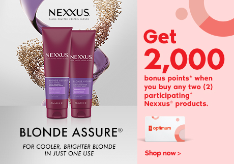 BLONDE ASSURE®. Get 2,000 bonus points* when you buy any two (2) participating† Nexxus® products.