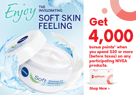 Try NIVEA Soft! Get 4000 bonus points when you purchase $30 or more (before taxes) of any participating NIVEA products.