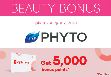Get 5,000 bonus points* with the purchase of any participating new Phyto d-tox products.