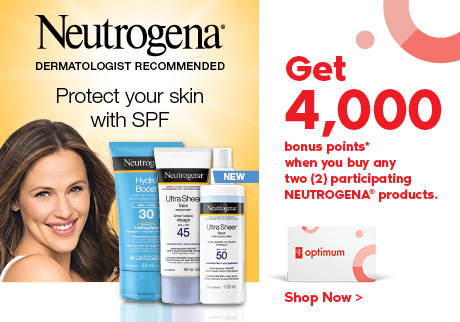 Get 4,000 bonus points when you buy any two participating NEUTROGENA® products. Click to shop now.