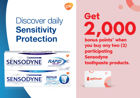 Sensodyne. Get 2,000 bonus points† when you buy any two (2) participating Sensodyne toothpaste products.