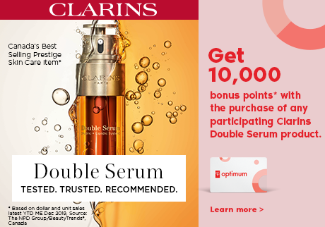 Get 10,000 bonus points* with the purchase of any participating Clarins Double Serum product.