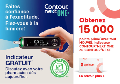 Obtenez 15 000 points prime* avec un indicateur GRATUIT* CONTOUR® NEXT ONE ou CONTOUR®NEXT.