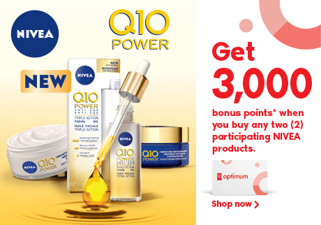 Get 3,000 bonus points* when you buy two (2) participating NIVEA products.