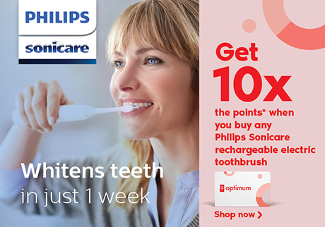 Get 10x the points* when you buy any Philips Sonicare rechargeable electric toothbrush. Learn more.
