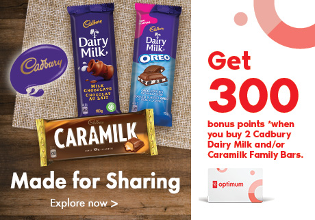 Get 300 bonus points when you buy 2 dairy milk and/or caramilk family bar.