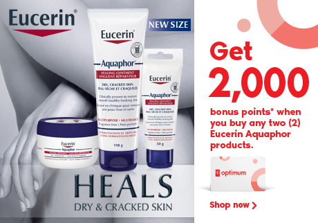 Get 2,000 bonus points when you buy any two participating Eucerin Aquaphor products.