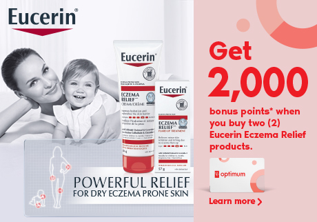Get 2,000 bonus points* when you buy two (2) Eucerin Eczema Relief products