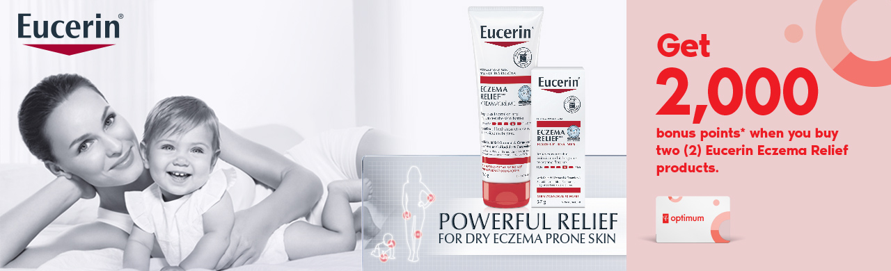 Get 2,000 bonus points* when you buy two (2) Eucerin Eczema Relief products.