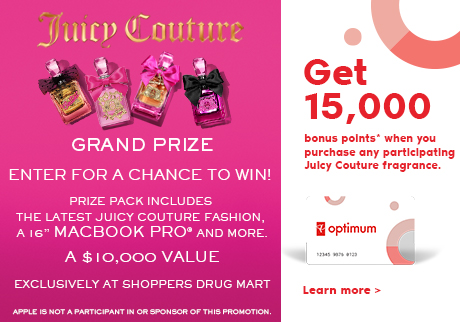 Get 15,000 bonus points* with the purchase of any participating Juicy Couture product.