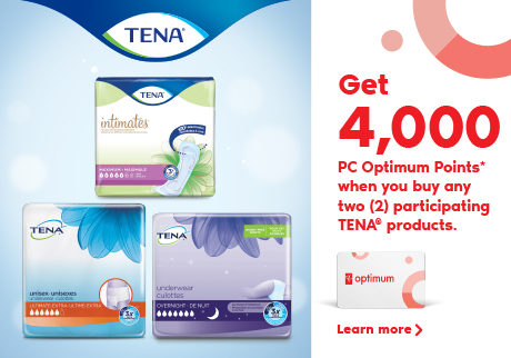 Tena. Get 4,000 PC Optimum Points* when you buy any two (2) participating TENA® products. Learn more.