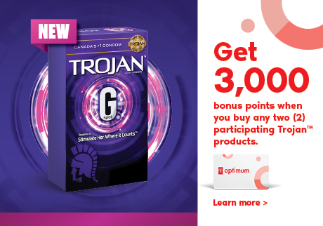 Get 3,000 bonus points* when you buy any two (2) participating Trojan™ products.