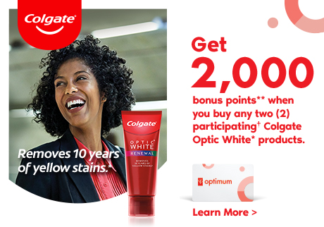 """Get 2,000 bonus points** when you buy any two (2) participating† Colgate® Optic White products. """