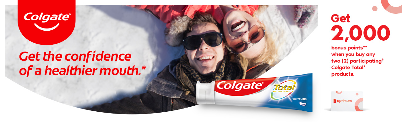 Colgate Total Advanced Health Whitening and a couple enjoying winter.