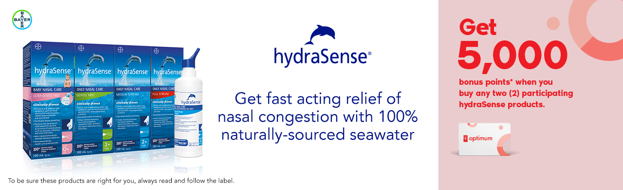 hydraSense Ultra-Gentle Mist, Gentle Stream, Medium Stream, and Full Stream 100ml. To be sure these products are right for you, always read and follow the label.