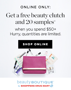 Get a free beauty clutch + 20 samples