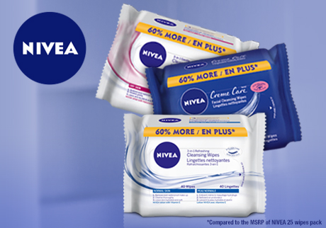 NIVEA Wipes! Now get 60% more wipes for free!