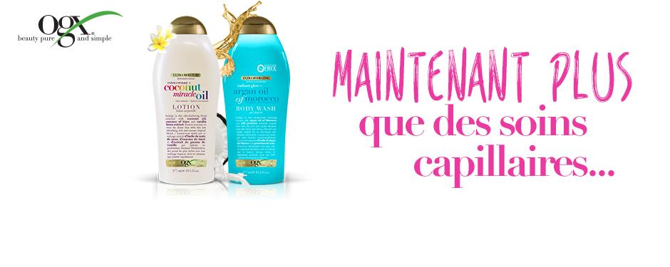 OGX offre maintenant des produits pour tout le rituel du bain!