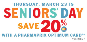 Seniors save 20% on regular priced merchandise