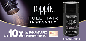 Get 10x the Pharmaprix Optimum Points®* when you purchase ToppikTM Hair Building Fibers, 12g